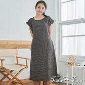 【Tiara Tiara】百貨同步 直條紋亞麻荷葉袖長洋裝(黑)