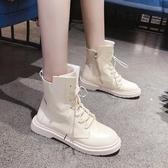馬丁靴 白色馬丁靴女英倫風新款秋季百搭學生潮短靴加絨冬季女鞋