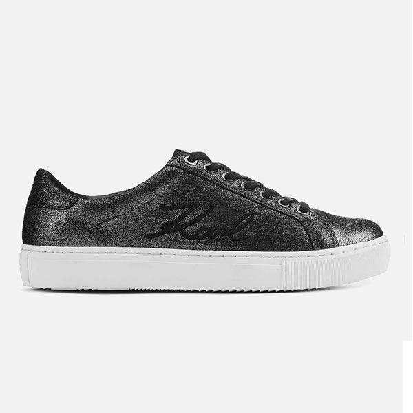 Karl Lagerfeld 卡爾 老佛爺 鞋 KUPSOLE 草寫簽名綁帶麂皮休閒鞋-深灰