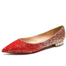 婚鞋女平底新款新娘鞋金色水晶鞋
