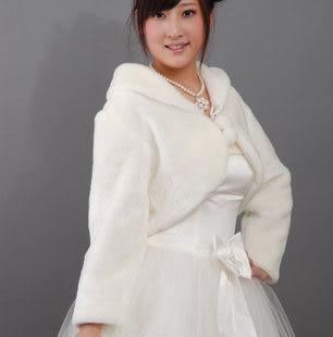 人氣新娘品牌 超豪華白色帶袖毛披肩