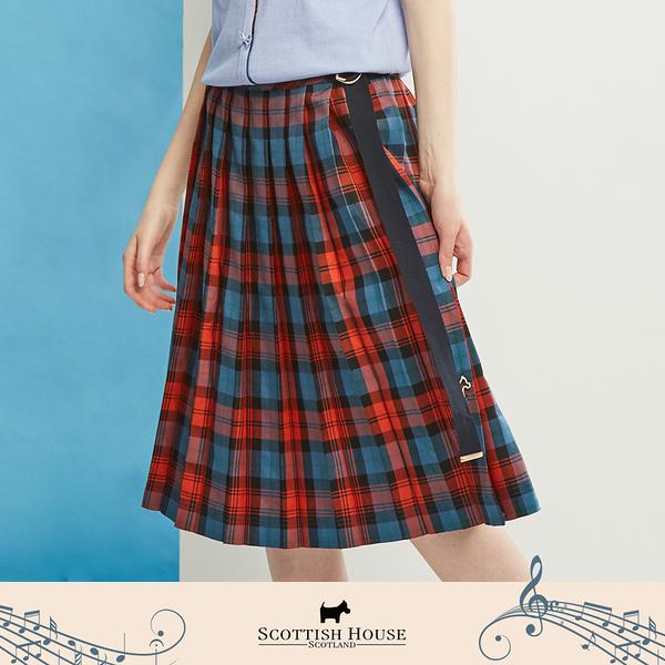 【Scottish House】 格紋 織帶裝飾 百褶裙 (AN2114)