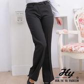【大尺碼-PAS-981D-B】華特雅-都會時尚OL辦公室女西裝平口袋喇叭褲(黝黑白條紋)
