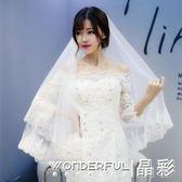 妖精頭紗婚紗韓式新娘頭紗超長3米蕾絲長款婚禮拖尾 晶彩生活