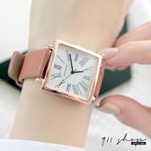 Lacuna.REBIRTH品牌。正方框簡單線條羅馬數字皮革錶帶手錶【ta072】911 SHOP