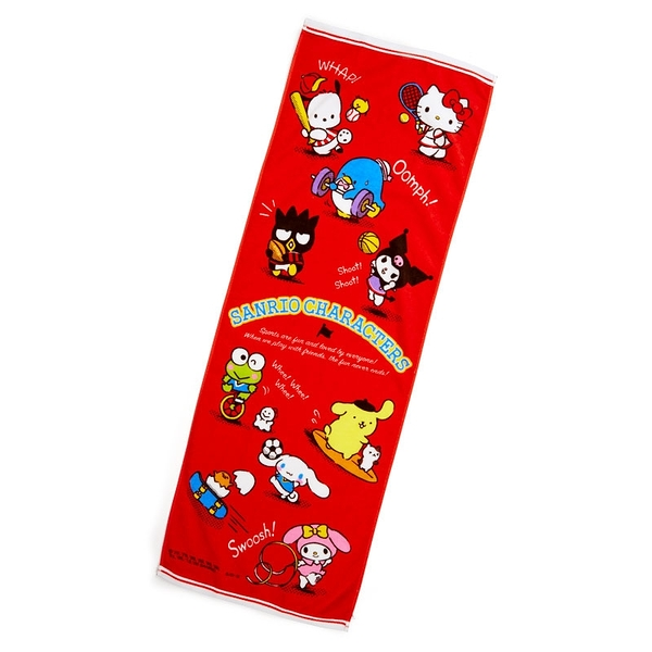 小禮堂 Sanrio大集合 純棉割絨浴巾 身體毛巾 運動毛巾 40x110cm (紅 應援啦啦隊) 4550337-64611