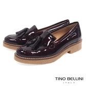 Tino Bellini 西班牙進口雙層漆皮流蘇低跟樂福鞋 _ 酒紅 A79019A 歐洲進口款