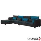 【采桔家居】柏莉  時尚棉麻布L型獨立筒沙發組合(四人座+椅凳)