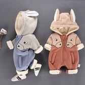 連身裝 3女嬰兒連身衣秋冬裝加絨新生兒衣服男寶寶哈衣秋季6-12個月抱衣
