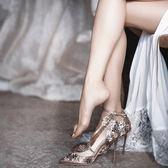 高跟鞋 尖頭銀色亮片婚鞋花朵高跟鞋細跟單鞋一字帶扣金色新娘鞋 巴黎春天