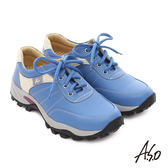 A.S.O 前彈性後避震II 牛皮花漾美型抗震奈米休閒鞋  藍