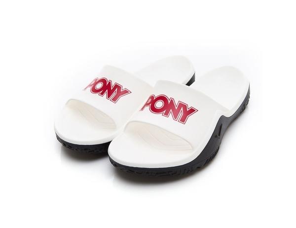 PONY 男女款白紅涼拖鞋-NO.92U1FL07RD