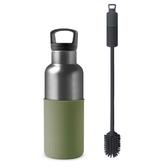 HYDY 時尚保溫水瓶 軍綠-鈦灰瓶 480ml + 刷具