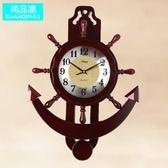 鏤空實木鐘錶掛鐘客廳地中海創意簡約現代臥室客廳超靜音木質掛錶YS 【限時88折】