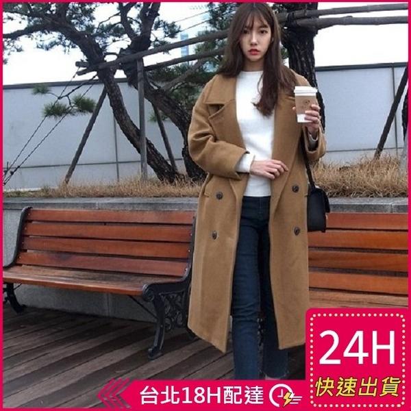 【現貨免運】梨卡 - 韓國空運【韓國製】秋冬加厚寬鬆仿羊毛毛呢大衣風衣西裝外套A411