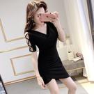 洋裝五折 鏤空袖子連身裙黑色短袖彈力棉緊身不規則包身裙修身性感包臀短裙 小禮服