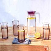 冷水壺彩色玻璃涼水壺家用大容量耐熱水壺涼水杯耐高溫套裝 【格林世家】