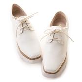 amai《與黃金比例有個約會》搖滾重金屬松糕厚底小方鞋 白