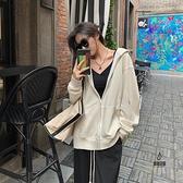 初秋中長款寬鬆休閒灰色開衫外套連帽拉鏈衛衣女【愛物及屋】