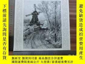 二手書博民逛書店【罕見】1890年小幅木刻版畫《在磨坊》( an der müh