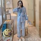 秋冬季長袖睡衣女清新可愛學生大碼薄款家居服開衫日式和服兩件套