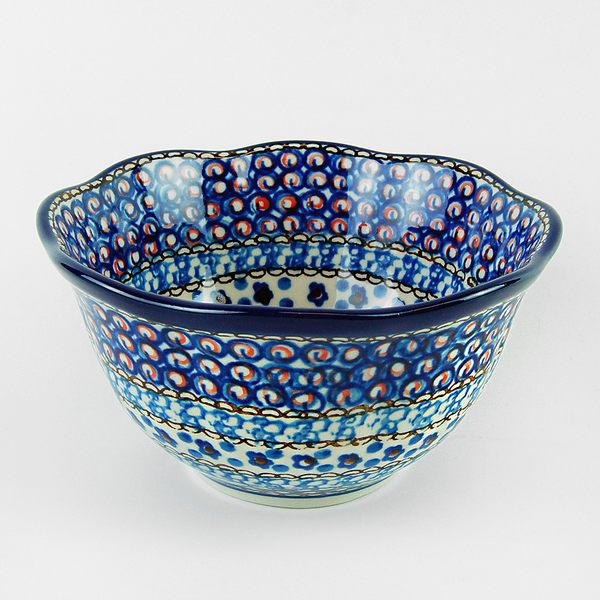 【手工波蘭陶 CA大廠】波蘭陶 迷迭藍 14cm 碗 波浪碗 U4(陶瓷 餐具)