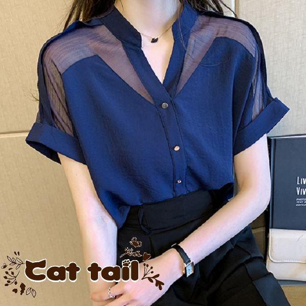 《貓尾巴》ZC-0089 夏季設計感雪紡純色短袖襯衫(森林系 日系 棉麻 文青 清新)