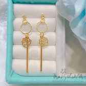 威世登 限時搶購玫瑰花鑲白石垂吊式黃金耳環 約0.84~0.86錢 GF00439-BBXX-EHX