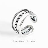 S925純銀復古做舊三線指環韓國東大門個性女款線條戒指尾戒飾品