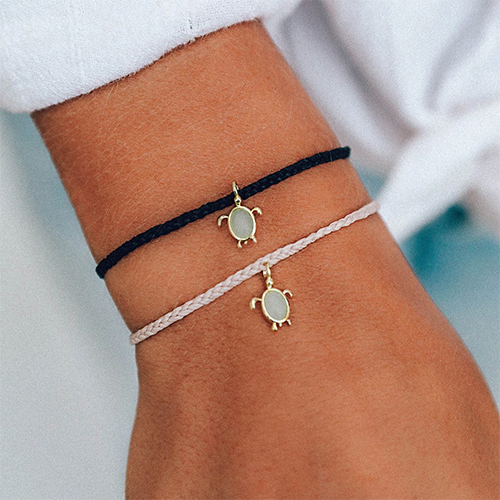 Pura Vida 美國手工 慈善系列 保護海龜金色 黑色蠟線衝浪手鍊手環