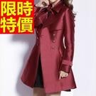 女外套風衣流行復古-長袖禦寒長版日系女大衣2色59o15【巴黎精品】