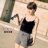 東京著衣【YOCO】安琪聯名法式美人蕾絲絨面細肩帶背心-XS.S.M.L(172211)