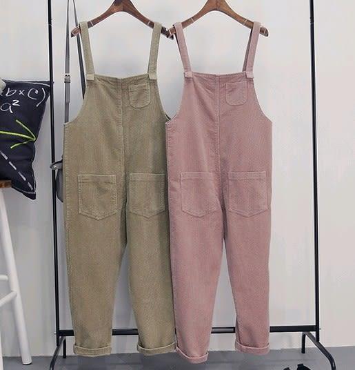 EASON SHOP(GU0429)燈芯絨寬鬆直筒背帶褲吊帶褲粉色卡其色單色純色學院風寬鬆九分褲 休閒長褲
