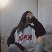hiphop蹦迪bf帥氣嘻哈上衣服ins怪味少女生潮chic早秋慵懶長袖t恤 草莓妞妞