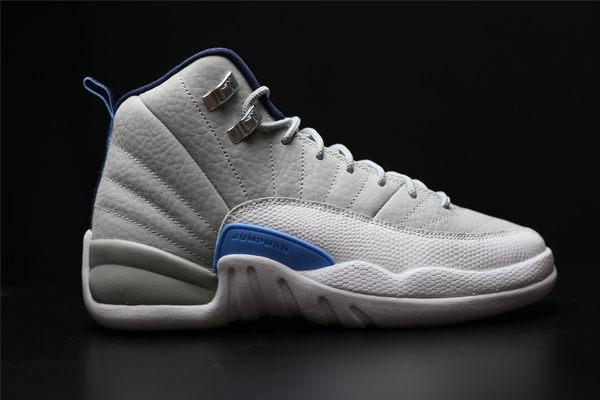 Nike Air Jordan 12 Retro BG女鞋 灰白藍 AJ12  (布魯克林) 2016 6月 153265-007