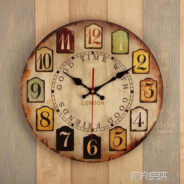 掛鐘14寸歐式復古鐘表掛鐘客廳家用臥室簡約時鐘圓形創意靜音掛表掛件第六空間
