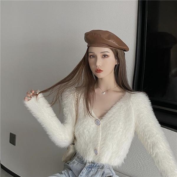 針織開衫 v領毛絨寬松外穿短款針織衫上衣女白色毛衣開衫外套