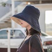 漁夫帽 雙面漁夫帽女夏韓版百搭日系防紫外線遮臉太陽帽子遮陽chic防曬帽 4色
