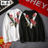 日系潮牌玫瑰花卉V字印花長袖T恤衛衣