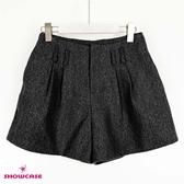 【SHOWCASE】時尚厚磅高腰雙褶寬口褲裙(黑)