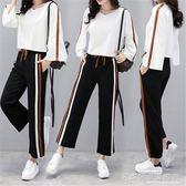 學生運動套裝少女長袖長褲韓版潮寬鬆休閒兩件套『名購居家』
