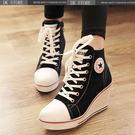 帆布鞋 韓版 厚底鞋 內增高休閒鞋 坡跟帆布鞋 女 內增高休閑鞋