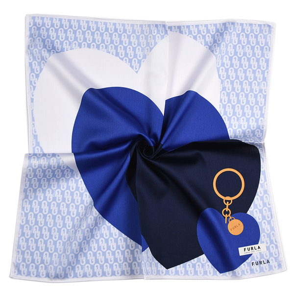 FURLA愛心鎖印花純綿帕領巾(藍色)989250-13