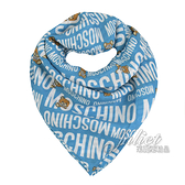 茱麗葉精品【全新現貨】 MOSCHINO 50139 M5352滿版小熊莫代爾質感薄圍巾.藍/大