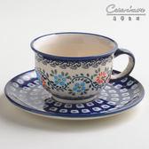 波蘭陶 典雅花團系列 花茶杯盤組 220 ml 波蘭手工製