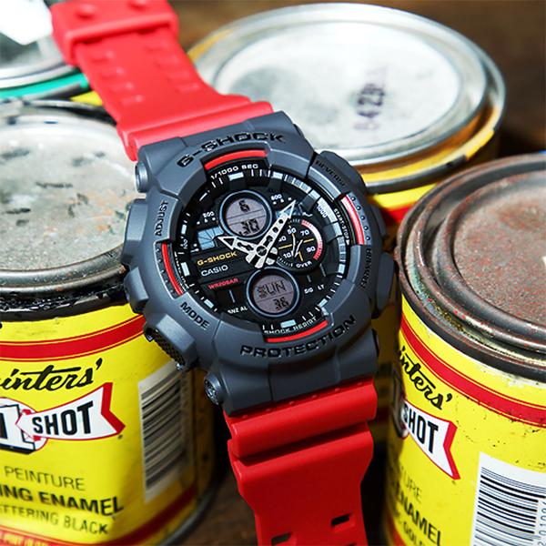 CASIO 卡西歐 G-SHOCK 90年代音響概念手錶-霸氣紅 GA-140-4A
