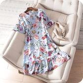 洋裝-桑蠶絲優雅氣質花朵荷葉邊連身裙73sz41[時尚巴黎]
