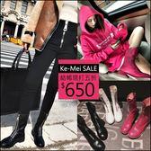 克妹Ke-Mei【ZT47836】歐洲站 暗黑BF龐克金屬拉鍊粗跟軍風馬丁短靴
