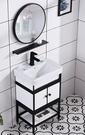 【 麗室衛浴】一體檯上盆+霧黑面盆龍頭+鋁合金烤漆浴室櫃+黑框圓鏡 組合價11800