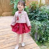 春季古裝漢服2020新款中小童民族風刺繡花朵長袖洋裝兒童公主裙 茱莉亞
